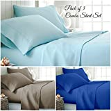 Eastern King Sheet Dimensions 1800 Series Premium Collection Solid 4PC Sheet Set Cal King Size - Set of 3 (Light Blue, Taupe, Burgundy) Deep Pocket- Wrinkle, Fade, Stain Resistant - Hypoallergenic