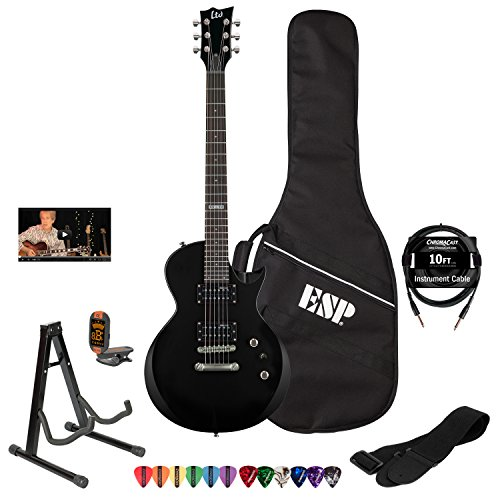 ESP LTD EC10KIT-BLK Electric Guitar with Lesson, ESP Gig Bag, ChromaCast 10' Cable, Strap, Stand, Tuner and Picks