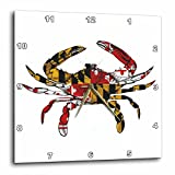 3dRose dpp_193242_3 Maryland Crab Flag. Wall Clock, 15 by 15-Inch Review