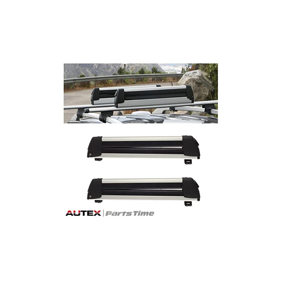 AUTEX 22'' Aluminum Universal Roof Mounted Ski Snowboard Carrier Rack (Pack of 2)