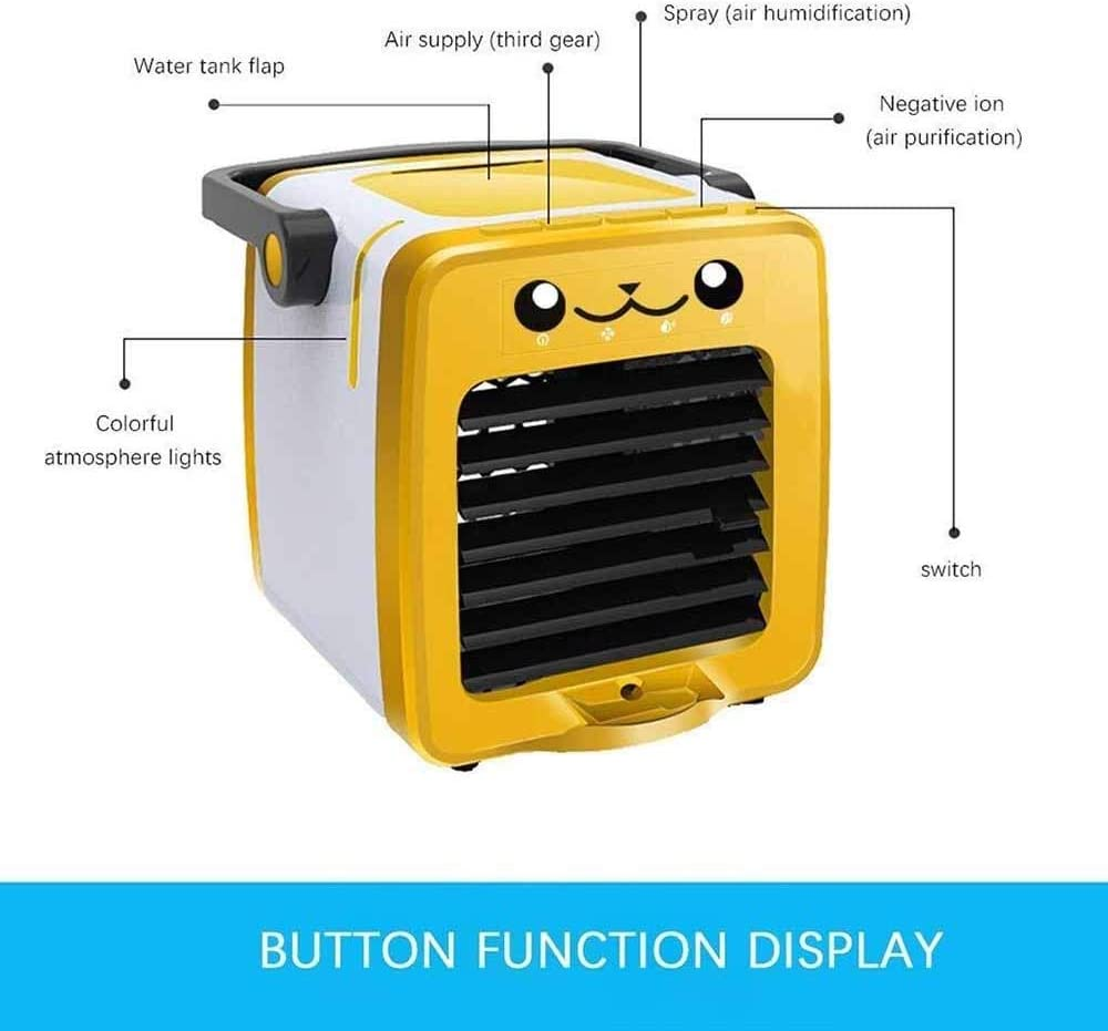 GLVG Mini USB Charging Air Cooler,One Button to Sleep Mode No Noise,3 in 1 Mini Air Cooler for Kids Color : Yellow Aroma Diffuser,3 Atmosphere LED 4 Wind Speed for Home Office