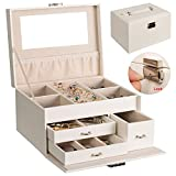 Jewelry Box Organizer Jewelry Display Case Marble Field Earring or Ring or Chain Organizer Holder with Lock and Mirror for Girls Women, PU Leather Beige