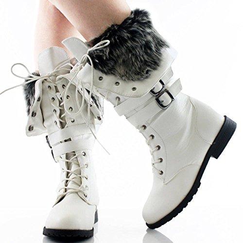 Kvinna Ny Senaste Pälsfoder Mode Dev-13 Vinter Snörning Boot Skor Sz 6-10 Vit Pu