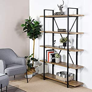 Framodo 5-Shelf Open Vintage Industrial Bookshelf, Rustic Wood and Metal 5-Tier Bookcase for Home Office Organizer and…