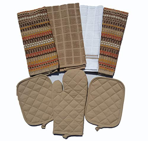 Mainstay Kitchen 7 Piece Set 2 Pot Holders, 1 Oven Mitt, 1 White 1 Brown 2 Multi-Color - Holder Mitt 1 Oven Pot