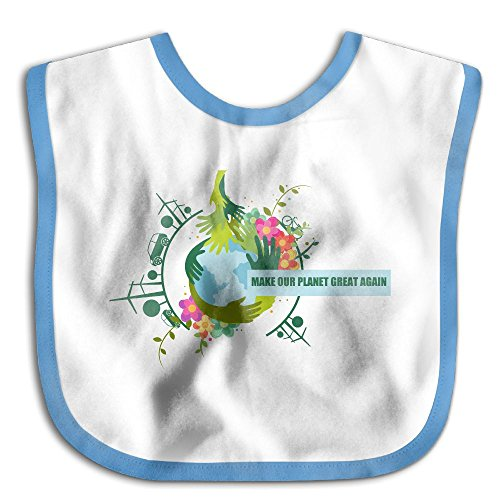 Make Our Planet Great Again Stop Global Warming Teething Bibs Comfort Waterproof Baby Bib Detachable - Blue Emmanuelle