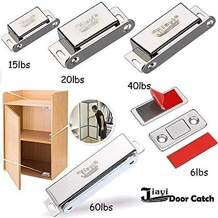 Cabinet Magnet Catch Jiayi 12 Pack Cabinet Door Magnets 15 lbs Magnetic Door Catch Hardware Stainless Steel for Home Kitchen Cupboard Wardrobe Closet Door Closures Silver