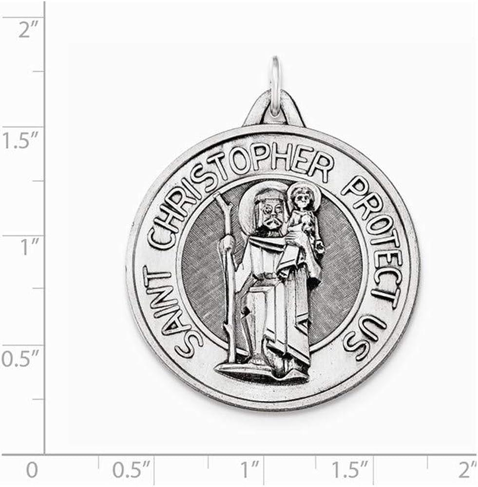 Christopher Medal Pendant 925 Sterling Silver Antiqued and Brushed St