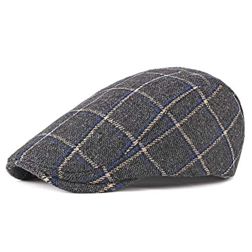 MoGist Mens Irish Artificial Wool Blend Duckbill Ivy Flat Cap Newsboy Gatsby Driver Winter Hat Uni-Sex Derby Tweed Flat Cap - Wigens Wool