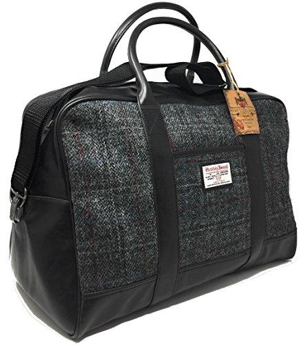 Damen oder Herren Harris Tweed Grau Tartan Holdall / Overnight Tasche