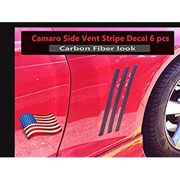 2010-2015 Chevy Camaro 6 Pcs Side Vent Insert Stripes Decal Glossy Carbon Fiber