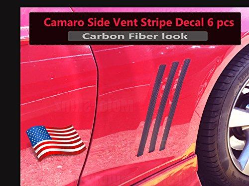 2010 2011 2012 2013 2014 2015 Chevy Camaro Side Grill Vent Blackouts Inserts Vinyl Decal Stripes Color: Black Carbon Fiber