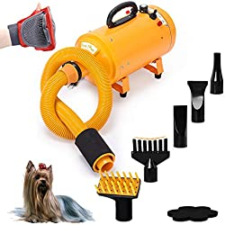4HP Stepless Adjustable Speed and 2 Differerent Heat Pet Grooming Hair Dryer w/ 4 Different Nozzles
