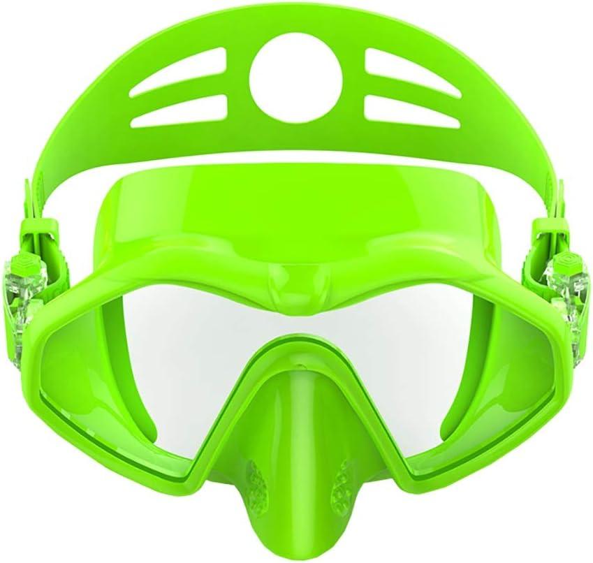 Sunbobo Traje de máscara Durable Natación Goggle Protección UV Anti Niebla y Anti Fuga for jóvenes Adultos Buceo Snorkeling Adecuado para Snorkeling (Color : Green, Size : One Size)