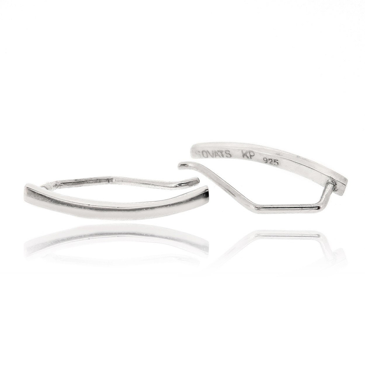 Sovats Bar Curved Earring For Women 925 Sterling Silver Rhodium Plated - Simple, Stylish Climber Earring&Trendy Nickel Free Earring East India 599_ee0288._us