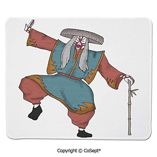 Non-Slip Rubber Base Mousepad,Cultural Asian Character Posing Traditional Hat Makeup and Costume Decorative,for Laptop,Computer & PC (15.74