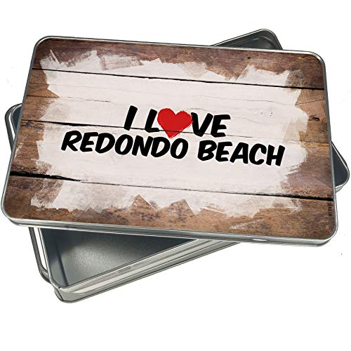 NEONBLOND Cookie Box I Love Redondo Beach Christmas Metal Container