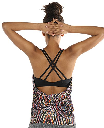 icyzone Yoga Tops Workouts Clothes Activewear Built In Bra Tank Tops For Women (XXL, Fireworks)