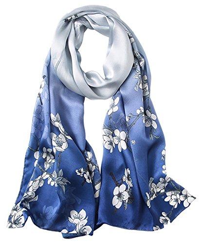 Ellettee, 69 x 21 inches Silk Scarf, Fashion for Women Christmas Gift Elegant Wrap (Classic - Classic Scarf Silk Pure