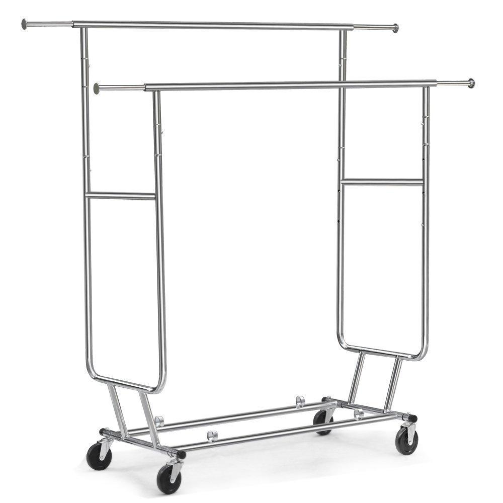 Amazon.com: Tangkula - Perchero con ruedas para ropa, doble ...