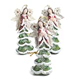 Factory Direct Craft Package of 6 Resin Painted Christmas Tree Angel Ornaments in Assorted Styles for Gifting, Displaying and Favors