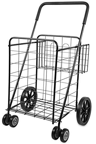Folding Shopping Cart with Double Basket- Jumbo Size 150 lb Capacity Black, Grocery Shopping Made Easy w/ Spinning Wheels