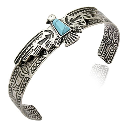 (Native American Inspired Cuff Bangle, Aztec Eagle, Resin Turquoise, Navajo Look (Silver Tone))