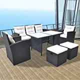 Festnight 6 Piece Outdoor Wicker Patio Garden Dining Set, Poly Rattan Furniture Black