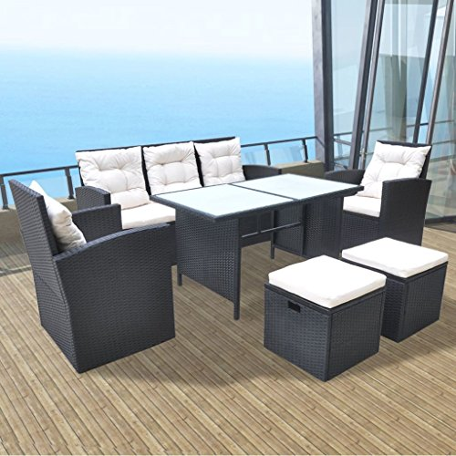 Festnight 6 Piece Outdoor Wicker Patio Garden Dining Set, Poly Rattan Furniture Black Review