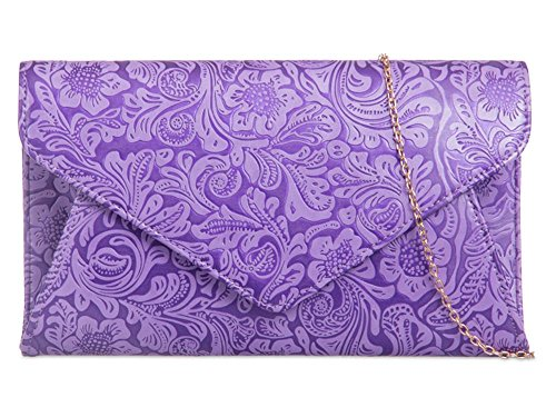 Faux Clutch Embossed Leather Lilac Ladies Flower YZxwqpq6Sn