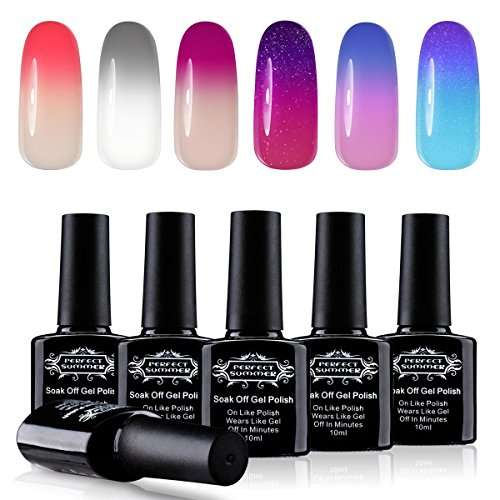 Perfect Summer Soak Off UV LED Gel Nail Polish - Chameleon Temperature Colors Changes Gel Polisih, 10ml Each #12