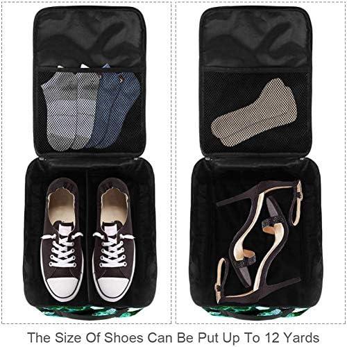MYSTAGE シューズバッグ 靴箱 スカル シューズケース シューズ袋 旅行収納ポーチ 二層式 靴入れ 小物収納 収納ケース アウドドア 出張 旅行