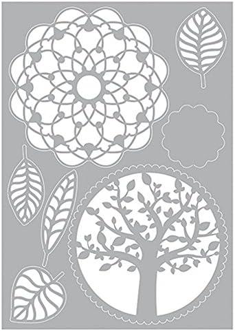efco Kunststoff wei/ß 29,7 x 21 x 0,1 cm Baum Bl/ätter Mandala Stencil