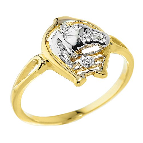 Ring Horseshoe Diamond Ladies (14k Yellow Gold Solitaire Diamond Horseshoe with Horse Head Ring (Size 7))