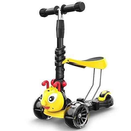 LYXPUZI Scooter para niños Bebé Paddle Coche de Tres Ruedas Patines para niños y niñas Scooter