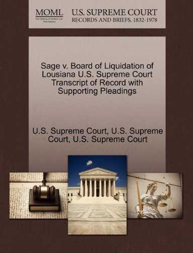 Sage v. Board of Liquidation of Lousiana U.S. Supreme Court Transcript of Record with Supporting Pleadings