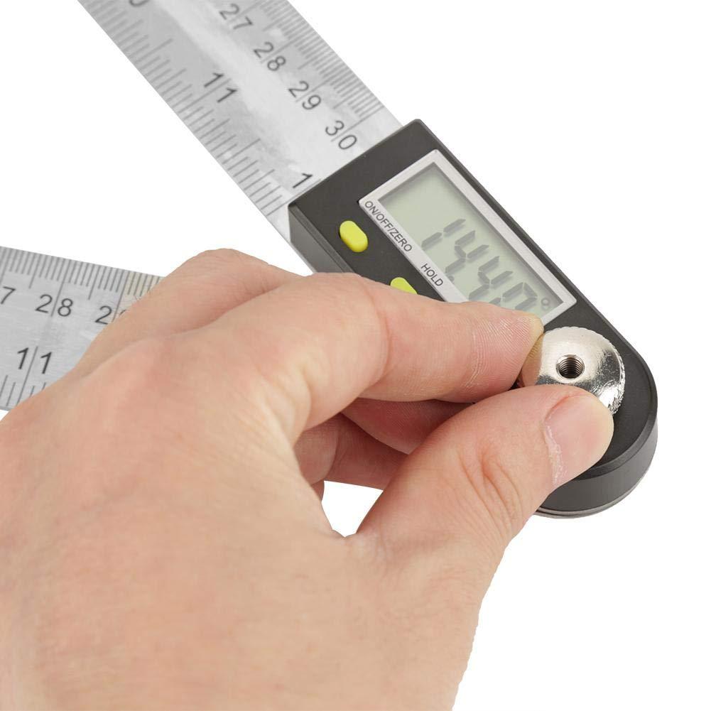 transportador imperial electr/ónico de acero inoxidable de 0-300 mm regla de indicador de inglete con pantalla LCD buscador de /ángulos de 360 /° Goni/ómetro digital