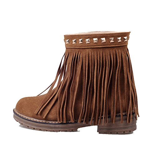 Frosted Round with Pull Brown Women's Low WeiPoot Boots Rivet Low Top Closed Heels Toe On RBwpFCCxXq