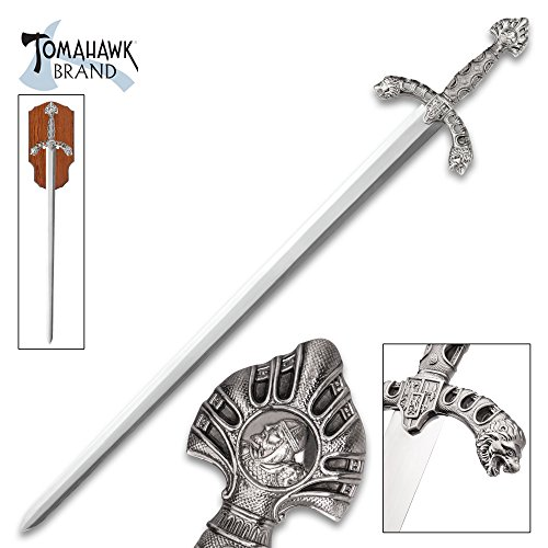 (Tomahawk Display Sword with Wooden Plaque Mount - Mirror Polished Stainless Steel, Display Edge - Middle Ages Medieval Longsword; Knight; King Royal Insignia; Lion Head Crossguard - 46