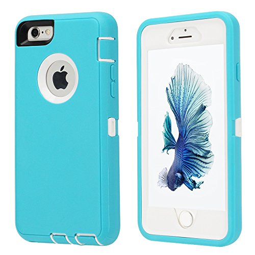iPhone 6/6s Case,[Heavy Duty] Armor 3 in 1 Built-in Screen Protector Rugged Cover Dust-Proof Shockproof Drop-Proof Scratch-Resistant Tough Shell for Apple iPhone 6/6s 4.7 inch (Mint Green)