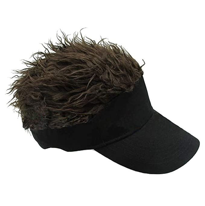 Flair Hair Novelty Adjustable Visor with Spiked Hair Joke//Gag Visor//Hat//Cap