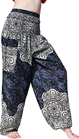 Full Funk Smocked Waist Rayon Printed Aladdin Pants Mixed Floral Explosion Art, Small, Dark Blue