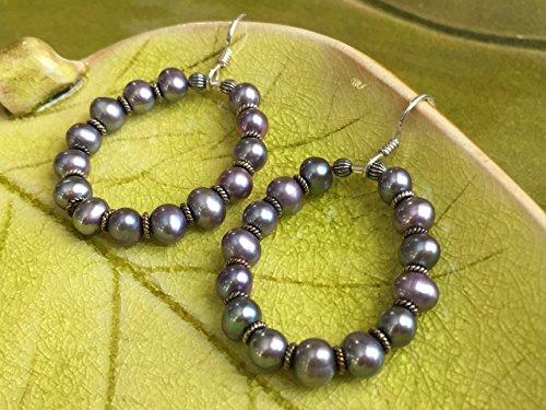 JANECKA Purple Pearl Hoop Earrings, Freshwater Pearls, TREAT - Chinese Hoop Earrings