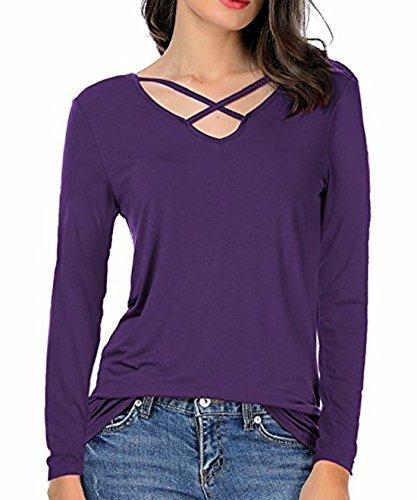 Shirts Tops Scollo Tinta Viola Lunga Bluse Lungo Manica Camicie Donna T Maglietta a V Autunno Shirt Sottile Maglie Blouse Unita qwEPO