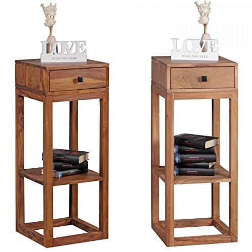 FineBuy-Beistelltisch-Massivholz-Design-Anstelltisch-Telefontisch-mit-Schublade-und-Ablage-35-x-35-x-90-cm-Flur-Konsole