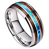 DOUX 8mm Mens Tungsten Carbide Ring Blue Opal Koa Wood Inlay Wedding Band Comfort Fit High Polished(10.5)