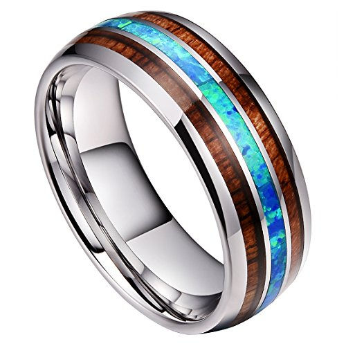 DOUX 8mm Mens Tungsten Carbide Ring Real Blue Opal Rare Koa Wood Inlay Wedding Band High Polished (9.5)