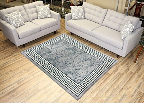 Studio Collection Meander Ancient Roman Design Contemporary Modern Area Rug Rugs 3 Different Color Options (Grey, 5 x - Versace Decor