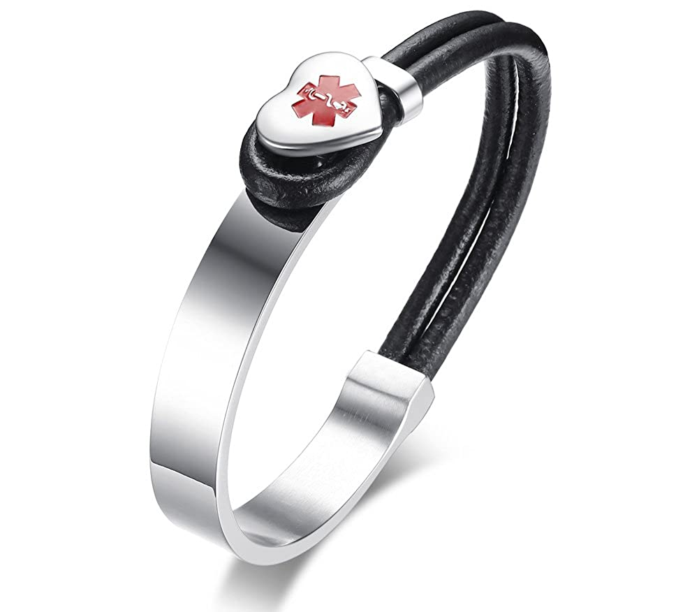 Personalized Free Engraving Fashion Stainless Steel Leather Medical Alert ID Bangle Bracelets for Women Mealguet MG--BL--337BS--KZ