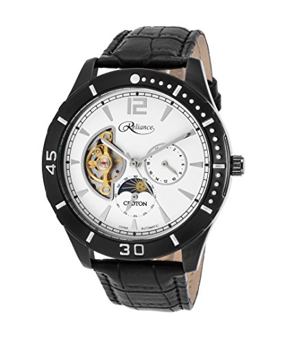 Croton Mens Reliance Automatic Multifunction Leather Watch (Black/White)